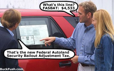 Young couple notices new features added to all Government produced vehicles.
